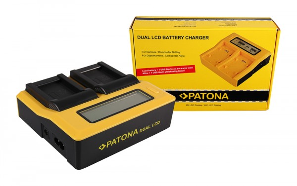 PATONA Dual LCD USB Ladegerät f. Aiptek Ordro NP-170 084-07042L-062 AHD 2 AHD H23 CB-170 Ordro