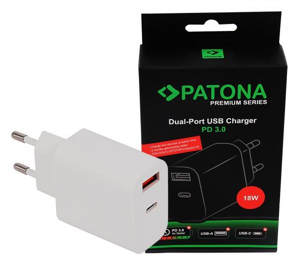 PATONA Premium Netzteil 18W PD QC 3.0 1x USB-C 1x USB-A 5V 3A für Apple Samsung etc.