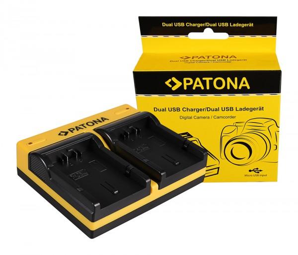 PATONA Dual Ladegerät f. Panasonic CGA-S002E Lumix FZ5 DMCFZ 8 DMC-FZ 8 DMCFZ1 FZ1B inkl. Micro-USB