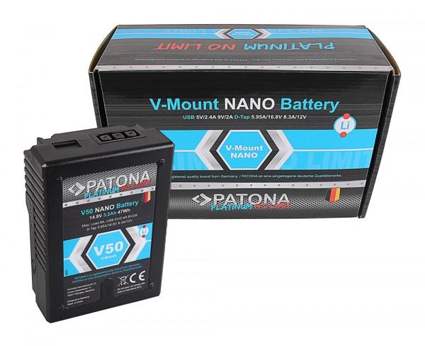 V-Mount Akku PATONA Platinum NANO V50 mit 47Wh RED ARRI