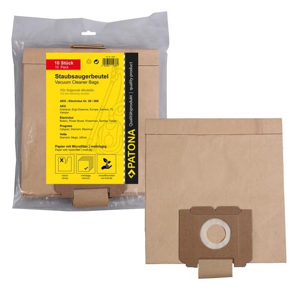 10x Mehrlagiger Papier Staubsaugerbeutel f. AEG Gr.28 Compact EL Gr.28 E 150 160 180 181 185 190 170