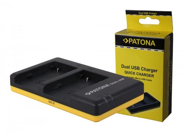 PATONA Dual Schnell-Ladegerät f. Canon NB2L, NB2LH, 2L12, 2L14 inkl. Micro-USB Kabel