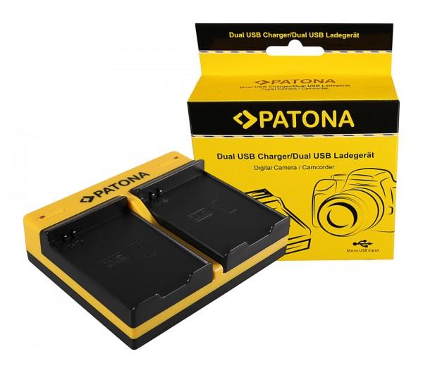 PATONA Dual Ladegerät f. Samsung EB-F1A2GBU I519 I569 I579 I8150 i8150 W i9050 i9100 inkl. Micro-USB