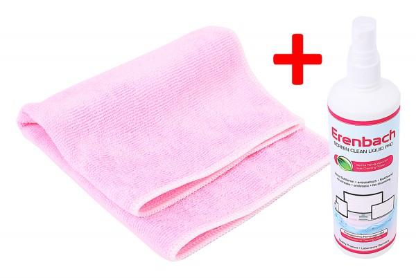 Erenbach Set 250 ml professionelles Reinigungsmittel für Display und Microfasertuch 30 x 30 cm