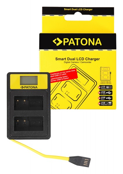 PATONA Smart Dual LCD USB Ladegerät f. Leica Panasonic DMW-BLC12PP V-Lux 4 Panasonic DMW-BLC12PP