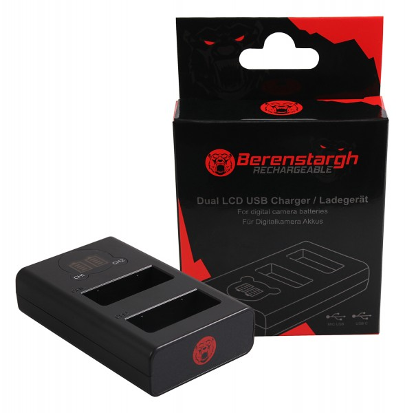Berenstargh Dual LCD USB Ladegerät f. Panasonic DMW-BLG10 CSBLG10MC CS-BLG10MC DMWBLG10 DMW-BLG10