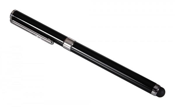 2in1 Touchpen slim schwarz mit integriertem Kugelschreiber und Kappe von PATONA
