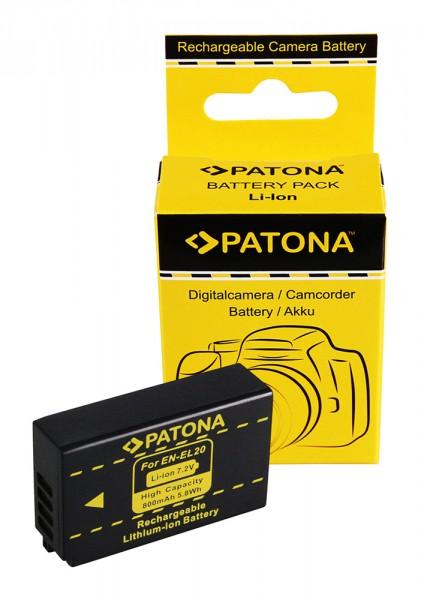 Akku f. Nikon EN-EL20 1 A Blackmagic Pocket J1 J-1 J2 J3 S1 V3 V-3 von PATONA