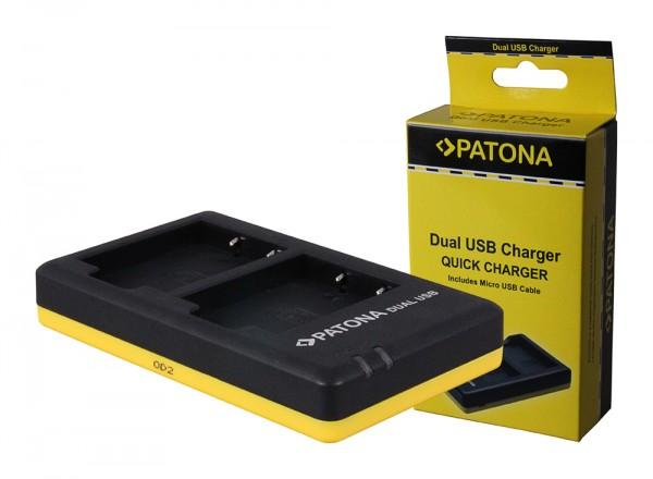 PATONA Dual Schnell-Ladegerät f. FinePix X-Pro 1 HS30 EXR inkl. Micro-USB Kabel