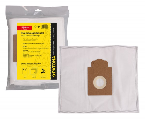 PATONA 10 Staubsaugerbeutel mehrlagig Vlies inkl. Microfilter f. Melitta EIO 80 mit Pappaufsatz