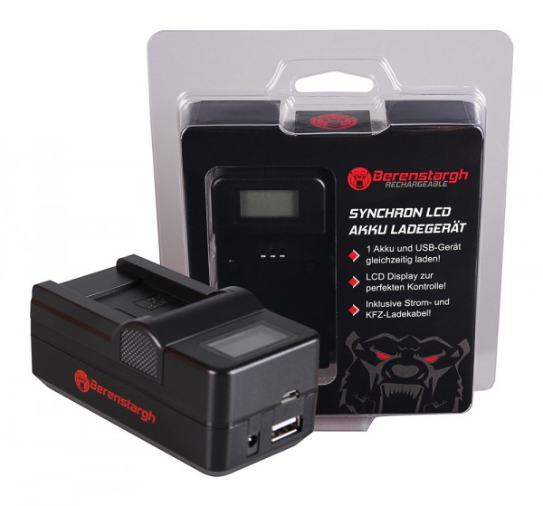 Berenstargh Synchron USB Ladegerät Samsung BP-70A ST60 ST61 ST70 ST71 mit LCD-Display