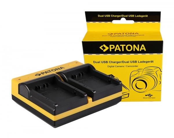 PATONA Dual Ladegerät f. Panasonic BLB13 Lumix DMCG1 DMC-G1 DMCG10 DMC-G10 DMCG10K inkl. Micro-USB K