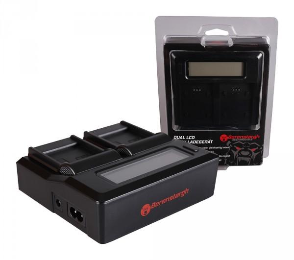 Berenstargh Dual LCD USB Ladegerät f. Samsung IA-BP85ST HMX H104 H104 H105 H105 H106 H106 HMXH100
