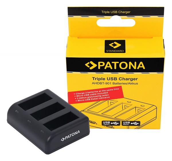 PATONA Tripple Ladegerät f. GoPro Hero 9 Hero 10 AHDBT901 ADBAT001 inkl. Micro USB Kabel