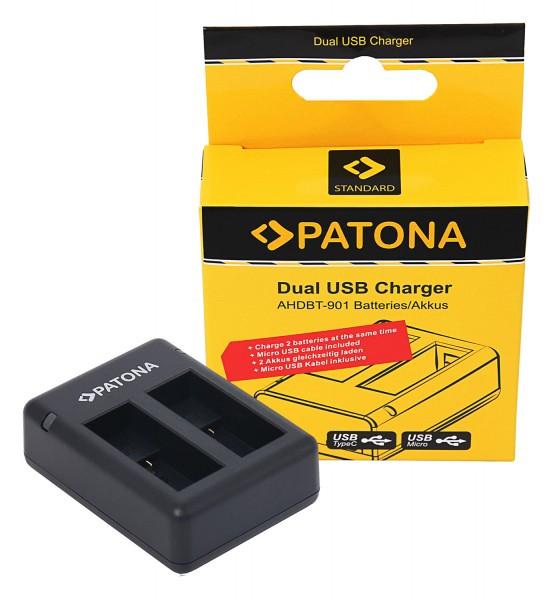 PATONA USB Dual Ladegerät f. GoPro Hero 9 Hero 10 AHDBT901 ADBAT001 inkl. Micro-USB Kabel