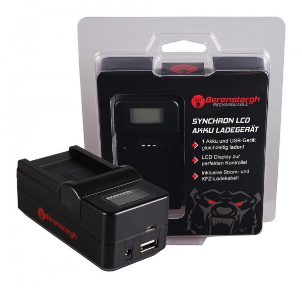 Berenstargh Synchron USB Ladegerät f. Canon SLB-10A Ixus 85 IS SLB-10A IXY DIGITAL 25 IS SLB-10A Syn
