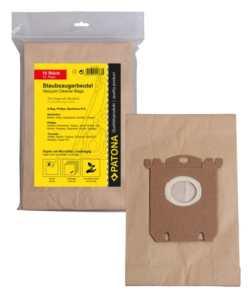 10x Mehrlagiger Papier Staubsaugerbeutel f. AEG Electrolux E15 S-Bag AEC Clario Electrolux E15 S-Bag