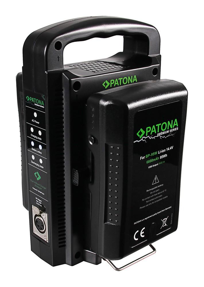Patona PATONA Dual V-Mount töltőszet Sony BP-95W BP-GL65 BP-190WS 4-Pin XLR Kábellel