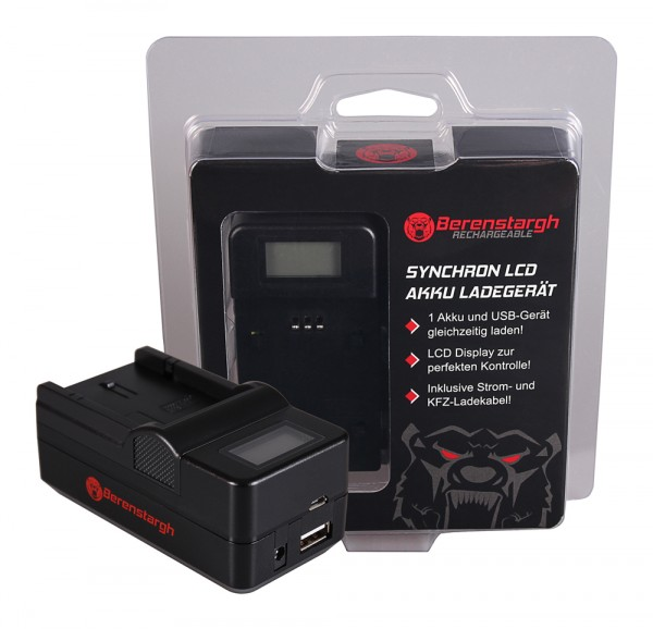 Berenstargh Synchron USB Ladegerät f. Olympus PS-BLS1 Evolt E400 E400 E400 E-400 E410 E410 E410