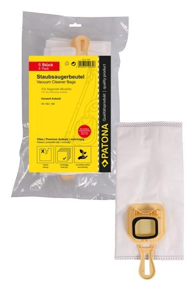 PATONA Premium 6 Staubsaugerbeutel mehrlagig Synthetisches Vlies f. Vorwerk Kobold VK140 VK150