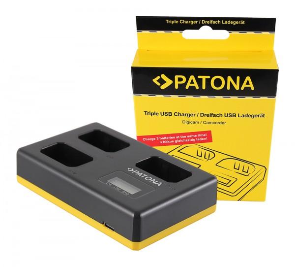 PATONA USB Triple Ladegerät f. Sony NP-FW50 NEX A33 A55 NEX.3 NEX.3C NEX.5 NEX.5A NEX.5C inkl. USB T