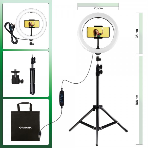 PATONA Premium Vlogger Kit: 10 Zoll Video-/Ringlicht mit Fernbedienung und Stativ