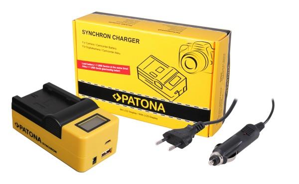 PATONA Synchron USB Ladegerät f. Fuji NP-W235 Fujifilm XT4 X-T4 mit LCD-Display