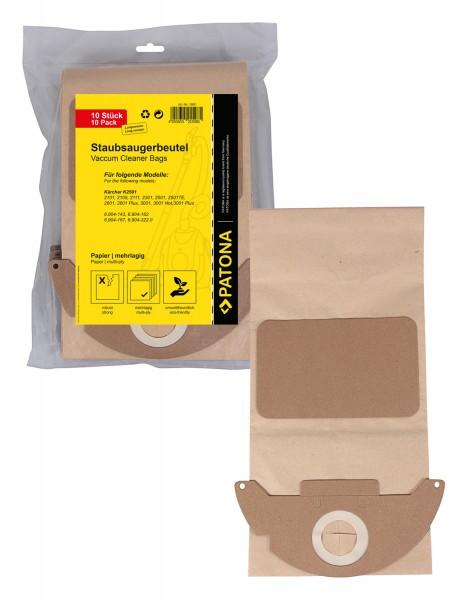 PATONA 10 Staubsaugerbeutel mehrlagig Papier f. Kärcher K2501 long K2601 K3001 6.904-143 K2101 K2301