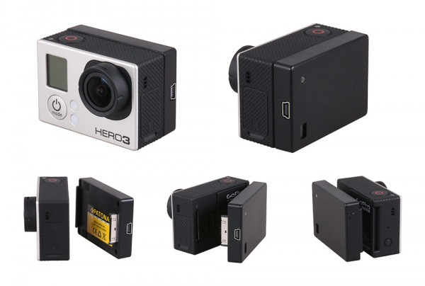 BacPac zusatzakku für GoPro Hero 4 | 3+ | 3 inkl. 2 Gehäuse mit 1300mAh von PATONA