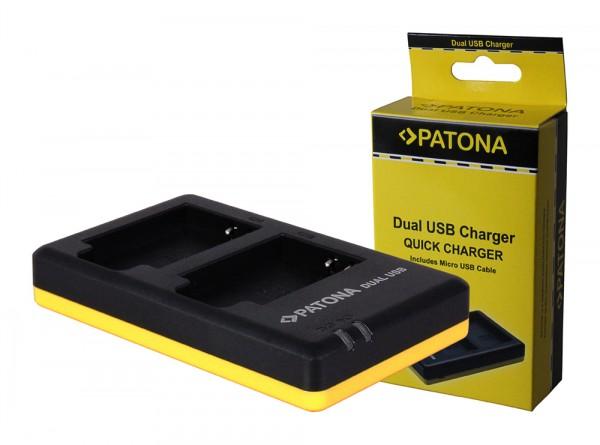 PATONA Dual Schnell-Ladegerät f. Nikon EN-EL12 ENEL12 inkl. Micro-USB Kabel
