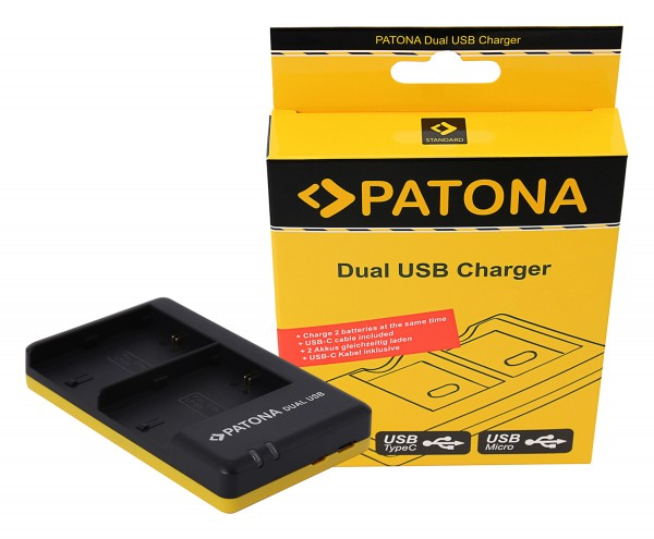 PATONA Dual Schnell-Ladegerät f. Canon LP-E6 LPE6 inkl. USB-C Kabel