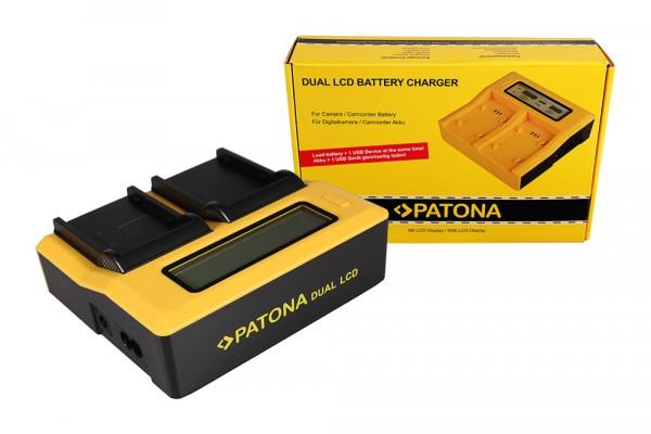 Dual LCD Ladegerät f. Canon BP-915 BP-945 DU14 BP-930G EOS C300 C300 PL BP-915 BP-945 von PATONA
