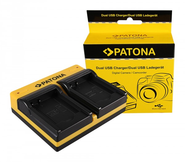 PATONA Dual Ladegerät f. Panasonic DMW-BCK7 Lumix DMC78FXW DMC-78FXW DMCFH2 DMC-FH2 inkl. Micro-USB