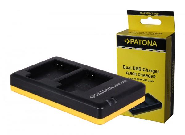PATONA Dual Schnell-Ladegerät f. Canon NB-6L, NB6L inkl. Micro-USB Kabel
