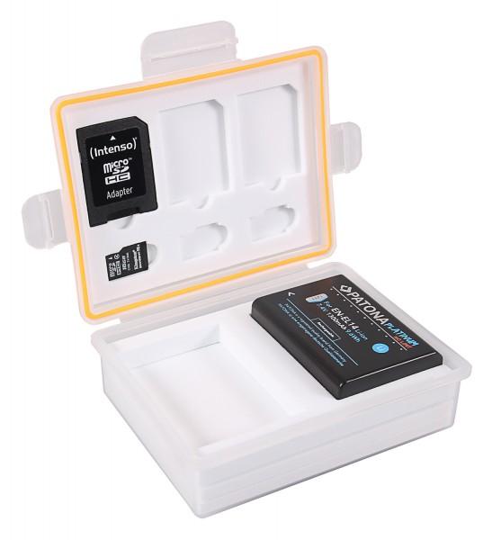 PATONA Aufbewahrungsbox für Akkus und Speicherkarten f. Canon LP-E8 Nikon EN-EL14 Fuji NP-95 Pentax D-Li109