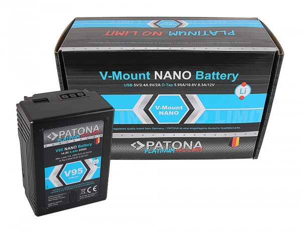 PATONA Platinum NANO V95 V-Mount 95Wh f. Sony DSR 600P 650P 652P HDW 800P PDW 850 BP-150w RED ARRI