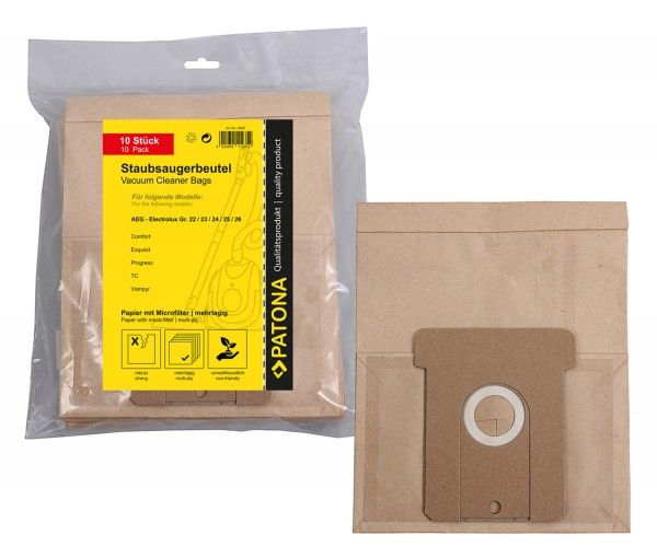 10x Mehrlagiger Papier Staubsaugerbeutel f. AEG Gr.22 Electronic Comfort i Gr.22 Vampyr 2000 1000-19