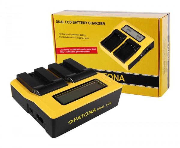 PATONA Dual LCD USB Ladegerät f. Konica Minolta Samsung NP-700 Dimage DGX50K DG-X50-K DGX50R