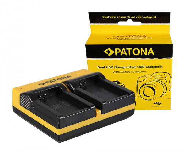 PATONA Dual Ladegerät f. Canon LP-E12 EOS M inkl. Micro-USB Kabel