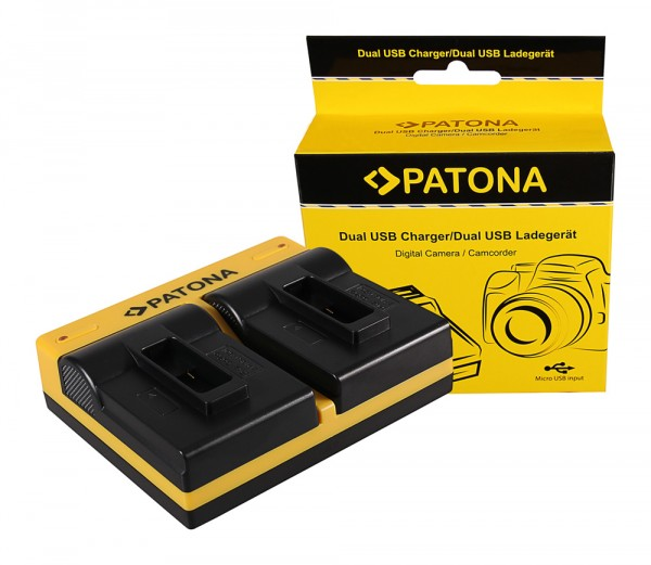 PATONA Dual Ladegerät f. GoPro Hero 8 AHDBT-801 Hero 7 AHDBT-701 Hero 6 Hero 5 AHDBT-501 inkl. Micro-USB Kabel