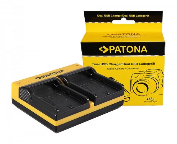 PATONA Dual Ladegerät f. Sony NP-FM50 DZ-MV DZMV200A DZ-MV200A DZMV200E DZ-MV200E inkl. Micro-USB