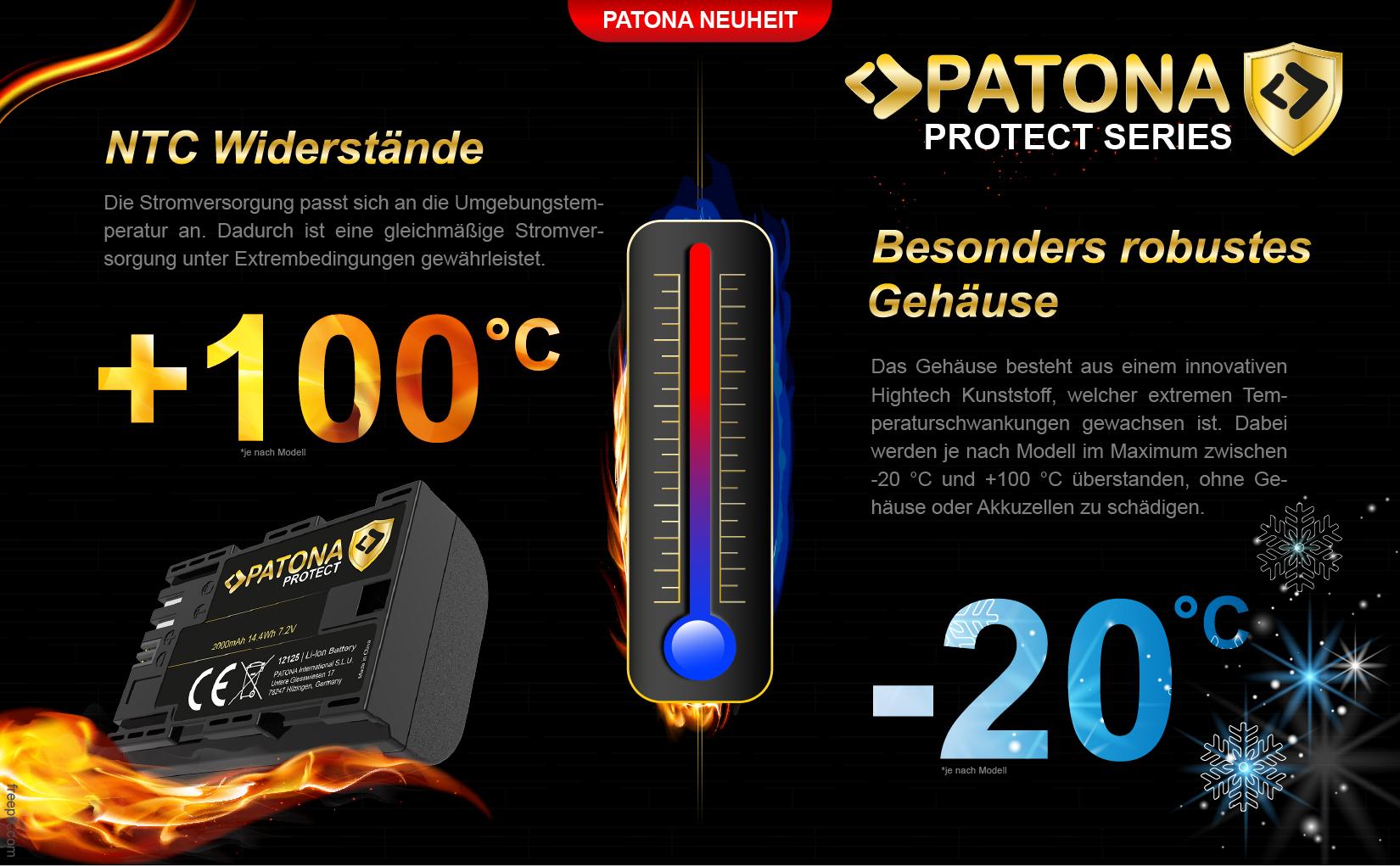 PATONA PROTECT Akku f. Panasonic DMW-BLG10 DMW-BLE9 DMC-GF3 DMC-LX85 DMC-LX100