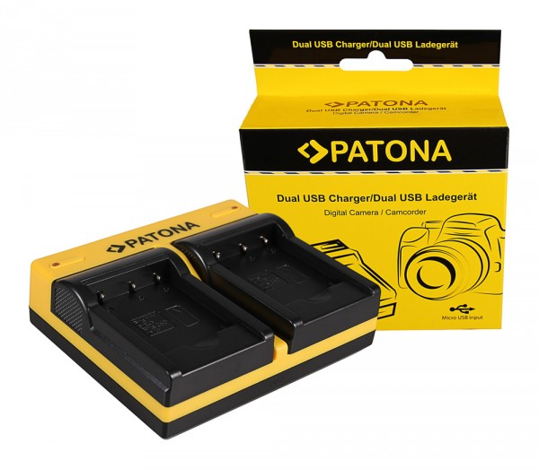 PATONA Dual Ladegerät f. Nikon Casio NP-120 CoolPix S2500 S3100 S4100 inkl. Micro-USB Kabel