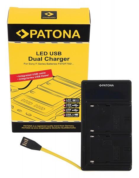 PATONA Dual LED USB Ladegerät f. Sony NP-F970 NP-F960 NP-F950 DCR-VX2100 HDR-FX1