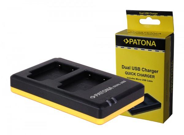 PATONA Dual Schnell-Ladegerät f. Olympus Li40B, Li-40B inkl. Micro-USB Kabel