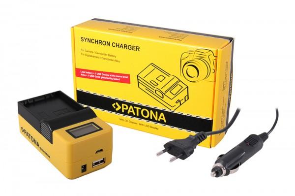 PATONA Synchron USB Ladegerät f. Olympus BLH1 BLH-1 mit LCD-Display