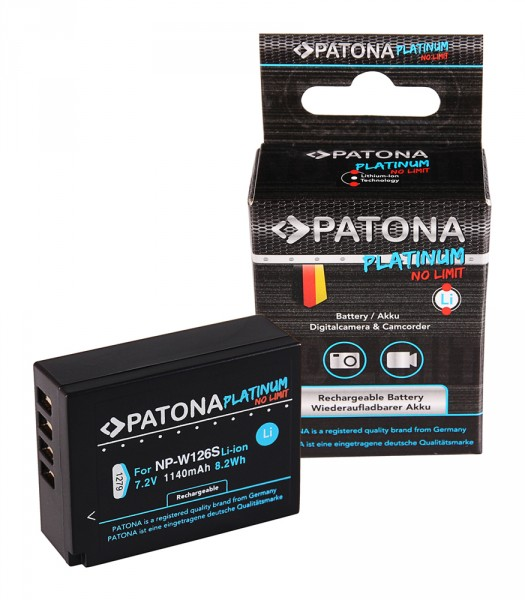 PATONA Platinum Akku f. Fuji NP-W126S HS33 EXR Fujifilm FUJI Finepix -Pro 1 HS30 EXR X-T3 VPB-XT3