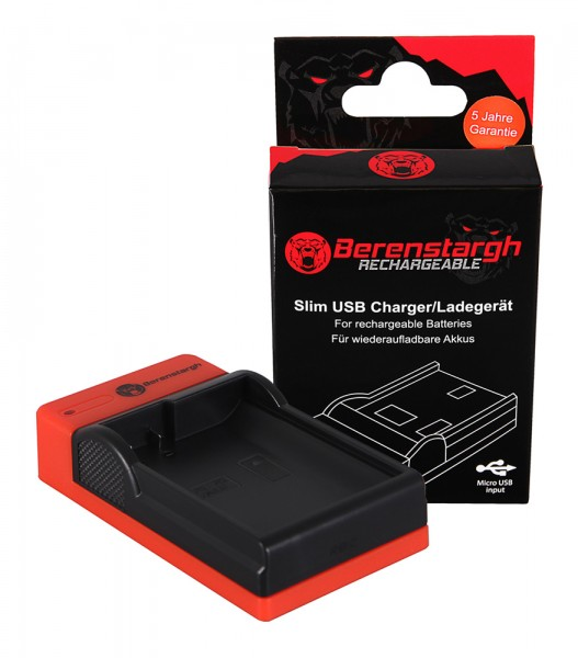 Berenstargh Slim Micro-USB Ladegerät f. Nikon EN-EL15 1 V1 EN-EL15 D600 D610 D7000 D7100 D800 D8000