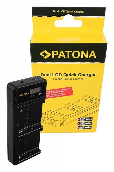 PATONA Dual LCD USB Ladegerät f. Sony F550 F750 F970 FM50 FM500H