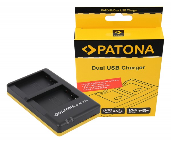 PATONA Dual Schnell-Ladegerät f. Panasonic DMW-BLC12 E inkl. USB-C Kabel